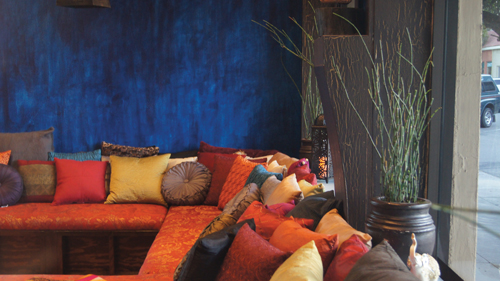 With deep blue walls, day beds full of vibrant colors and plush pillows, and labels inspired by the 64 arts of KamaSutra, the LXV Wine Lounge elevates the mood and intimacy  that goes beyond just sensing.