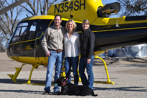 Scott and Shera Sinton are pictured with Ali Dusi (right) outside the J. Dusi Vineyards tasting room prior to leaving for a Paso Air Tour of local wineries.