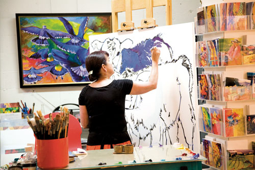 Artist Anne Laddon at work in Studios on the Park.