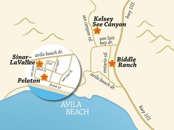 The Avila Valley wine trail map.
