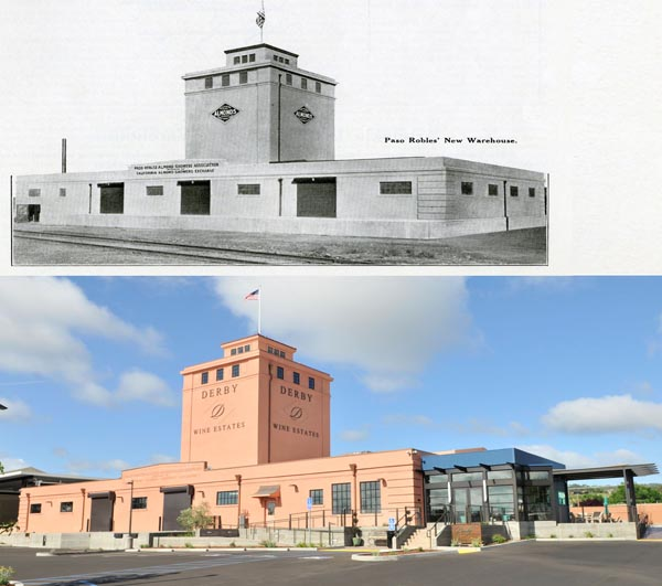 Before and after restoring the derby tower