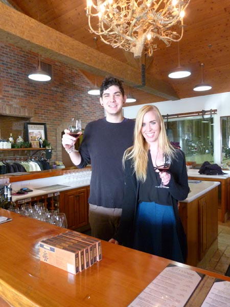 Le Vigne tasting room staff members Greg Edmunson and Bethany Springer.