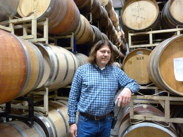 Winemaker Michael Barreto in the Le Vigne cellar.