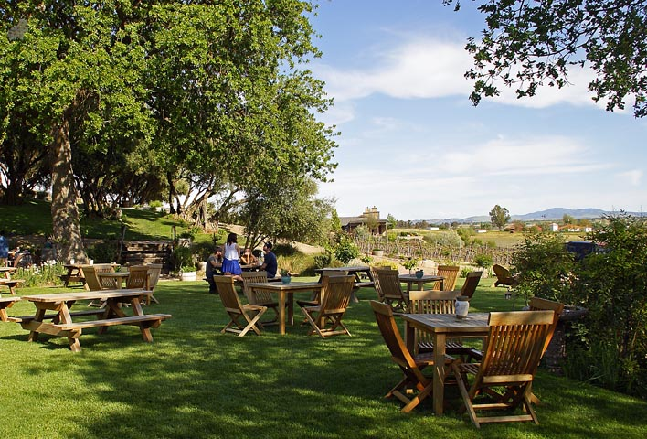 The outside tasting area at Still Waters, one of the six wineries on the trail.