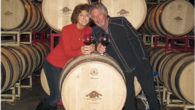 Marc and his wife Maggie Goldberg in barrel room